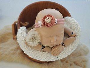 Headband Mara Rosa Envelhecida (meia de seda)