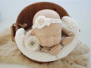Headband Mara Branco (meia de seda)