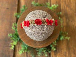Coroa Flor e Laço Vermelha