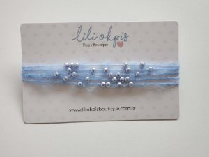 Headband Perolas Azul
