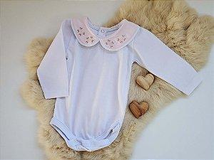 Body Bebê Menina Algodão Branco Gola Rosa Bordada