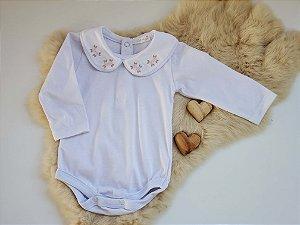 Body Bebê Menina Algodão Branco Gola Bordada