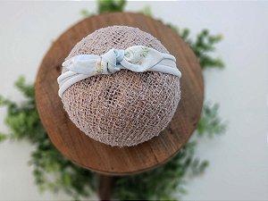 Laço Tecido Floral Azul Clarinho Meia de Seda Pequeno