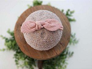 Laço Tecido Rosa Envelhecida Meia de Seda Pequena