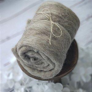 Manta Feltrada ( Fluffy) Cinza Natural