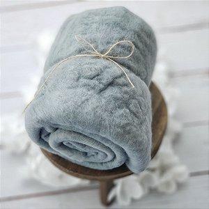 Manta Feltrada ( Fluffy) Azul Acinzenado