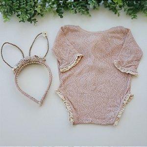 Conjunto Body Renda Rosa Nude Coelhinha