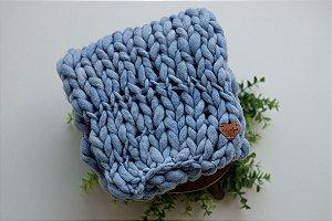 Manta Merino Fio Irregular Azul 40x45