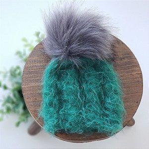 Gorrinho Verde com Pompom Removível