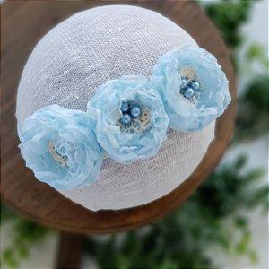 Headband Léia Azul (Meia de Seda)
