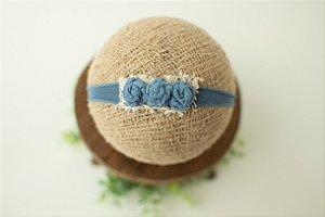 Headband Florzinhas Azul Jeans