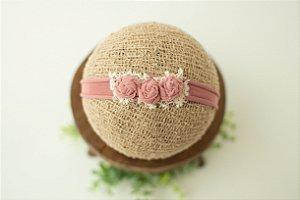 Headband Florzinhas Rosa Envelhecida