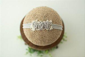 Headband Florzinhas Cinza