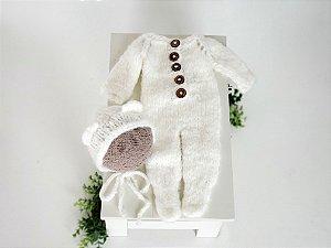 Macacão Ursinho Branco com Pezinho