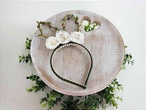 Arco Orelhinhas de Coelho Flor Branca