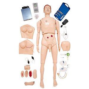 Manequim Bissexual Simulador para Treinamento de Habilidades de Enfermagem e ACLS - TZJ-0512