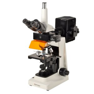 Microscópio Trinocular 40-1600x Objetivas Planas com Fluorescência