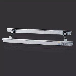 Puxador Retangular Duplo para Portas 40x10mm Aço Inox 304