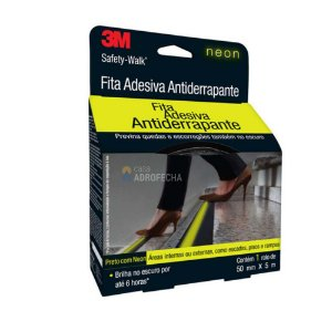 Fita Adesiva Antiderrapante 3M com Faixa Neon - 50mm x 5m