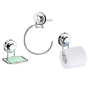 Conjunto para Banheiro com Ventosa Cromado - 3 Peças