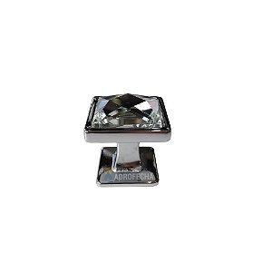 Puxador Ponto Quadrado M.F. Cristal 25mm Cromado