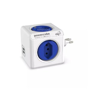 Adaptador PowerCube ELG Bivolt Azul - 4 Tomadas e 2 USB