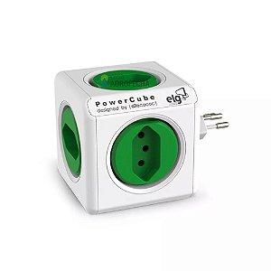 Adaptador PowerCube ELG Bivolt Verde - 5 Tomadas