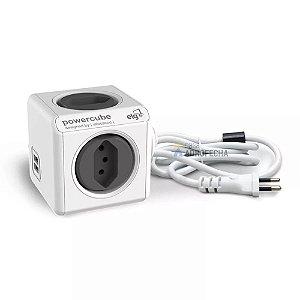 Adaptador PowerCube Extended ELG Bivolt Cinza - 4 Tomadas e 2 USB