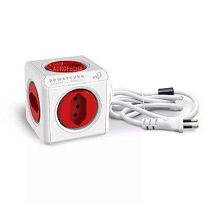 Adaptador PowerCube Extended ELG Bivolt Vermelho - 5 Tomadas
