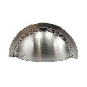 Puxador Zen Shell Níquel Escovado 64mm