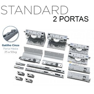 Kit Sistema de Correr Rometal SS 200 Standard 2 Portas