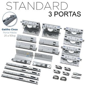 Kit Sistema de Correr Rometal SS 200 Standard 3 Portas