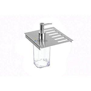 Porta Esponja e Detergente C/Dispenser para Calha Úmida Inox