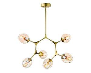 Pendente Metal Dourado/Vidro Conhaque 6XE27 MART 5715