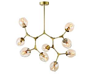 Pendente Metal Dourado/Vidro Conhaque 9XE27 MART 5716