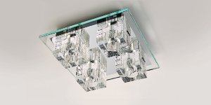 Plafon de Cristal Translúcido e Vidro Transparente 32,5 cm Stella SD7540