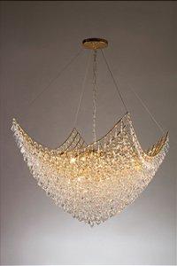 Pendente Circe Dourado com Cristais Translúcidos Stella SD9050