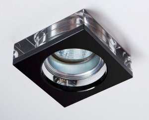 Semi Embutido de Cristal Transparente/Preto 8x8x4,7cm D&D EM-8105/1