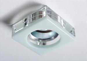 Semi Embutido de Cristal Transparente/Branco 8x8x4,7cm D&D EM-8105/2