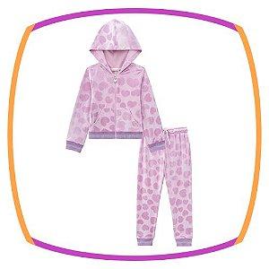 Conjunto infantil blusão e calça em veludo texturizado na cor rosa