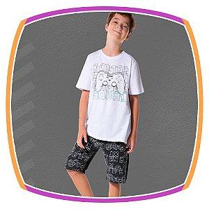 Conjunto infantil camiseta estampa controle  e bermuda em moleton