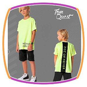 Conjunto infantil camiseta amarelo neon e bermuda corta vento