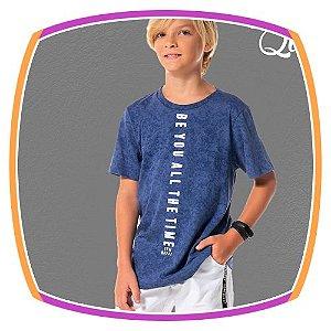 Camiseta infantil em malha estampa tie dye na cor denim blue