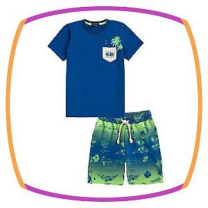 Conjunto infantil de camiseta e bermuda em molecotton estampada