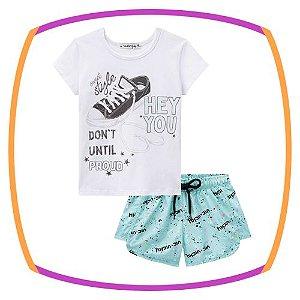 Conjunto infantil Blusa em Cotton e shorts em nylon estampado