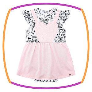 Vestbody para bebê em suedine e cotton e body estampado