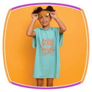 Saida de piscina infantil tecido atoalhado com gorro - Good Vibes - na cor azul