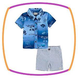 Conjunto para bebê body camisa em viscose estampa verão e bermuda em sarja leve