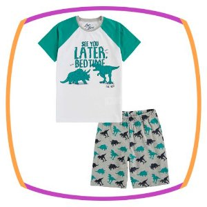 Pijama infantil camiseta e bermuda estampa de dinossauro
