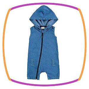 Macacão para bebê regata em jeans e gorro